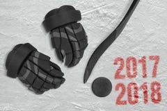 Saison d'hockey 2017-2018 Photo libre de droits