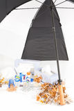 Saison de froid et de grippe avec Umbrella_Portrait Photo stock