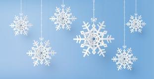 Saison de Joyeux Noël et d'hiver avec le flocon coupé de papier de neige illustration stock