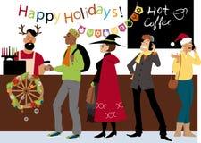 Saison des vacances dans le café inclus illustration de vecteur