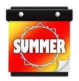 Saison neuve de datte de calendrier mural de page de Sun d'été Photographie stock libre de droits