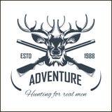 Saison ouverte de fusil d'arme à feu de chasseur d'aventure de chasse à élans d'icône de vecteur de club de chasse illustration libre de droits