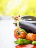 Saisonal vegetables on white table in garden Stock Photos