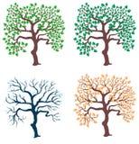 Saisonbäume eingestellt stock abbildung