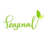 Saisonhand gezeichnetes Logo, Aufkleber, mit Blatt und Sprössling Vector Illustration ENV 10 für Lebensmittel und Getränk, Restau Stockbilder