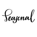 Saisonhand gezeichnetes Logo, Aufkleber Vector Illustration ENV 10 für Lebensmittel und Getränk, Restaurants, Menü, Biomärkte Stockfoto