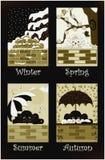 Saisons de chats dans la sépia illustration stock