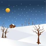 Saisons - illustartion de nuit d'hiver avec la neige en baisse image libre de droits