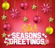 Saisons saluant l'affiche décorative de la typographie 3D pour des vacances de Noël Photos stock
