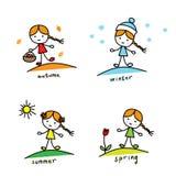 saisons Une fille avec un panier et un cercueil, en chapeau d'hiver et flocons de neige, avec un soleil et une tulipe illustration stock