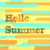 Saisonvektorillustration mit dem Beschriften des hallo-Sommers auf abstraktem Hintergrund von rechteckigen geometrischen Formen lizenzfreie abbildung