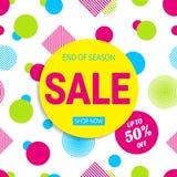 Saisonverkaufsplakat ENV 10 Farbige geometrische Formen 50-Prozent-Rabattfahne Förderungskarte in einer modischen Art Brigh lizenzfreie abbildung