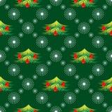 Saisonwintergrünhintergrund mit symmetrischen Schneeflocken und Tannenbäumen Lizenzfreies Stockfoto