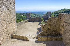 Saissac. The Chateau de Saissac, a ruined castle and one of the so-called Cathar castles, north-west of Carcassonne, France stock image