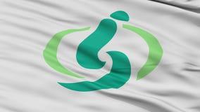 Saitama Capital City Close Up Waving Flag stock video footage
