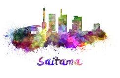 Saitama skyline in watercolor Stock Image