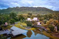 Saiyok district,Kanchanaburi province,Thailand on July 9,2017:Views from City Tower of Mallika City,1905 A.D.City of culture and stock photos