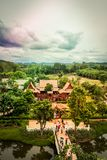 Saiyok district,Kanchanaburi province,Thailand on July 9,2017:Views from City Tower of Mallika City,1905 A.D.City of culture and stock photo