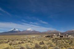 Sajama village and volcano landscape, Bolivia Royalty Free Stock Photos