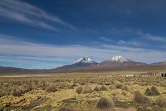 Sajama village and volcano landscape, Bolivia Royalty Free Stock Photo
