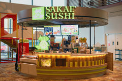Sakae Sushi. SINGAPORE - CIRCA SEPTEMBER, 2016: Sakae Sushi at Singapore Changi Airport. Changi Airport is one of the largest transportation hubs in Southeast Stock Photos
