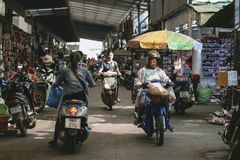 Unidentified people in Rong Kluea market Stock Photos