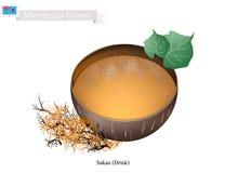 Sakau drink eller traditionell Micronesian växt- dryck stock illustrationer