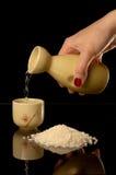 Sake. Set for oriental sake with reflection Stock Image