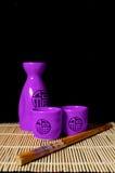 Sake. Set for oriental sake with reflection Royalty Free Stock Image