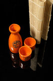 Sake. Set for oriental sake with reflection stock photo