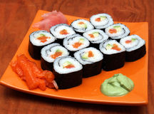 Sake avocado maki sushi Stock Photography