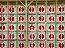 Sake Barrels display at Japanese Pavilion at Expo 2015 Royalty Free Stock Images