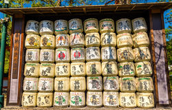 Sake barrels at Heian Shrine in Kyoto Stock Photos
