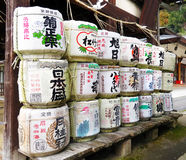 Sake barrels, Himure Hachiman Shrine, Omi-Hachiman, Japan Stock Image