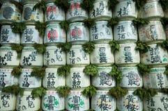 Sake barrels in the Japanese shrine Stock Photo