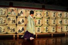Sake barrels in shinto monastery, Nikkó, Japan Stock Images