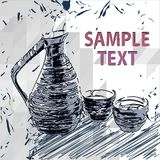Sake bottle and cups , vector drawings Stock Photo