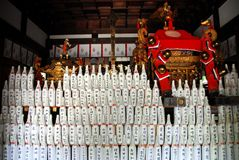 Sake bottles and divine palanquin Stock Photos