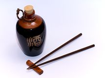 Sake and chopsticks Royalty Free Stock Photo
