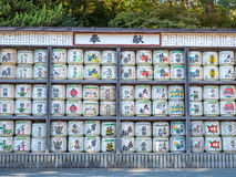 Sake container tanks in temple Stock Image