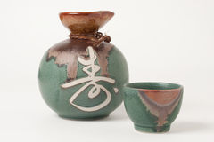 Sake cup and jug Stock Photography