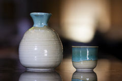 Sake cup and jug Royalty Free Stock Image
