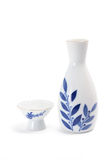 Sake Cup and Pitcher. On White Background Royalty Free Stock Photography