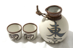 Sake Cups and Conainter Stock Photos