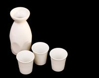Sake jug and cups Stock Image