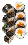 Sake-kappa maki- sushi with salmon and cucumber Royalty Free Stock Photo