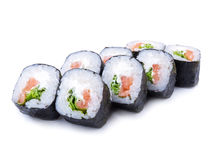 Sake maki Japanese roll with salmon isolated on white background. Sake maki Japanese roll with salmon and salad Royalty Free Stock Photos