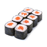 Sake maki Japanese roll with salmon isolated on white background. Sake maki Japanese roll with salmon on white table Royalty Free Stock Photos