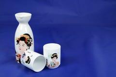 Sake set 1. Sake set on blue background Royalty Free Stock Image