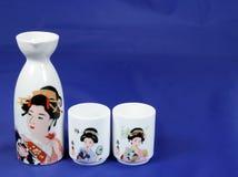 Sake set 2. Sake set on blue background Stock Photo
